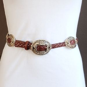 Vintage leather braided belt with silver conchs